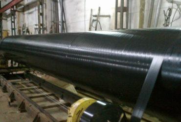 Изоляция труб дм. 57.1420мм. полимерными двухслойными липкими лентами холодного нанесения (ЛДПЛ, Полилен, Поликен)
